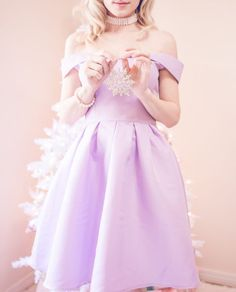 A Pretty & Pastel off the shoulder dress, white christmas tree, pastel christmas, pastel christmas decor, kate spade glitter heels, slmissglam makeup brushes, hair bow, pink ornaments
