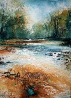 Dart Gallery - Contemporary British Art in Dartmouth, Devon and Online Watercolor Trees, Watercolor Artwork, Watercolor Landscape, Abstract Landscape, Landscape Paintings, Stair Art, Seascape Art, Encaustic Art, Abstract Nature