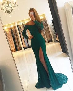 elegant off shoulder prom party dresses, dark green long sleeves evening gowns, fashion formal party dresses split.