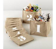 Kids Storage: Canvas Number Storage Bins