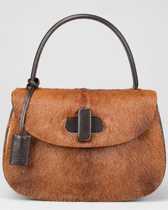 Gucci Brown Pony Hair Leather Top Handle Bag