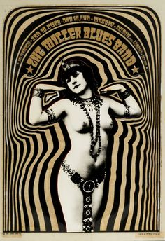 Victor Moscoso_ Miller Blues Band (Neon Rose [set of 1967 Ink and photostat on paper x 13 inches x 33 cm) Inv Psychedelic Drawings, Psychedelic Music, Psychedelic Posters, Rock Posters, Concert Posters, Music Posters, Band Posters, Retro Poster, Vintage Posters