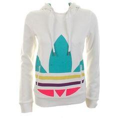 Adidas white multi color logo hoodie