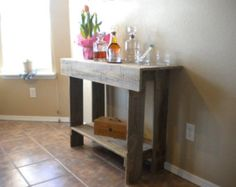 Wood Console Table. Wood Entry Way or Wall Table by TRUECONNECTION