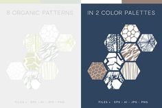 Organic Patterns - 2 color palettes by Youandigraphics on @creativemarket