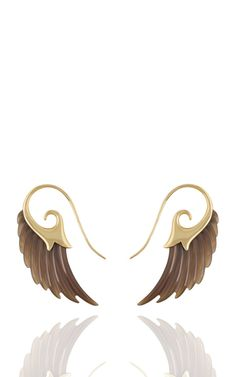 Wing Earrings With Yellow Gold And Horn by Noor Fares
