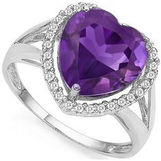 Add a touch of lovely beauty to your look with this special amethyst diamond ring, featuring a cute heart shaped floral lavender amethyst gemstone and double stunning white diamonds. Sparkling with rich, bright purple color, this delightful genuine amethyst 0.925 sterling silver ring will capture their attention at every turn. Act fast to own this special design ring. Our Price : $18.99