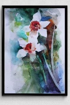 Original Watercolor Painting Narcissus Spring Flowers Art OOAK (33.00 USD) by MaryArtStudio