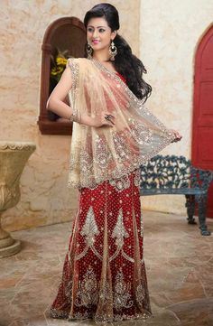 Red Net Lehenga Style Saree with Blouse Lehenga Style Saree, Red Saree, Lehenga Saree, Saree Blouse, Indian Bridal Sarees, Indian Attire, Blouse Online, Indian Fashion, Formal Dresses
