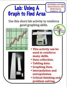 FREE!   Using a Graph to Find Area: A Science Skill Lab for Grades 6-12