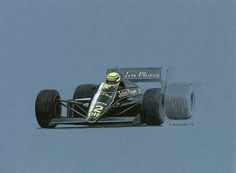 """Ayrton Senna in the JPS Lotus 97T on his way to winning the 1985 Belgian Grand Prix.  Pen&ink and markers on blue-gray paper. 12""""x 9"""" © Paul Chenard 2013  Original sold; available as a limited edition."""
