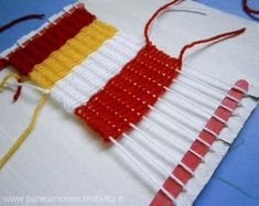 make your own weaving loom for kids. there is also a very easy way to make a weaving loom from a picture frame and nails...more for older kids and adults