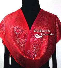 Red Hand Painted Silk Scarf with Spirals. by SilkScarvesColorado