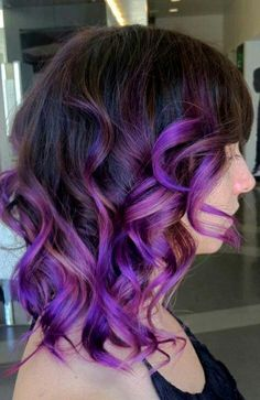 Medium length hair colored in a brown to purple ombre! More Hair Styles Like This!