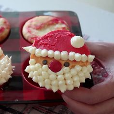 Santa would probably appreciate these cute cupcakes more than typical cookies. Santa would probably appreciate these cute cupcakes more than typical cookies. Christmas Deserts, Christmas Party Food, Xmas Food, Christmas Cooking, Holiday Desserts, Holiday Baking, Holiday Treats, Holiday Recipes, Christmas Recipes