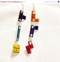 ON SALE Tetris earrings  Video Game Jewelry  by TheGeekyTavern, $12.00