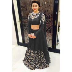 Bollywood Replica - Designer Raw Silk Black Lehenga Choli - EBSFLC234012D