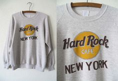 90s Hard Rock Cafe New York Sweatshirt - Soft Vintage Heather Grey Jumper - Mens size S / M
