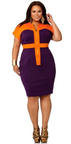 Elsa Color Block Ponte Knit Dress- Orange/Purple - Monif C Plus Size Club Dresses, Plus Size Outfits, Stylish Plus Size Clothing, Plus Size Fashion, Mode Xl, Neue Outfits, Looks Plus Size, Full Figure Fashion, Plus Size Kleidung