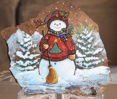 50 Easy DIY Christmas Painted Rock Design Ideas 3 – Home Design Diy Christmas Garland, Christmas Rock, Christmas Snowman, Christmas Canvas, Christmas Design, Rock Crafts, Christmas Crafts, Diy Crafts, Christmas Ideas