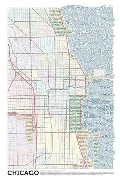 Check out these typographic maps made by Axis Maps (based out of Madison, but now expanded).  Made entirely by hand; just cutting, copying and pasting type to form streets, parks, rivers and lakes, as well as cultural institutions - anything typically included on a city map.