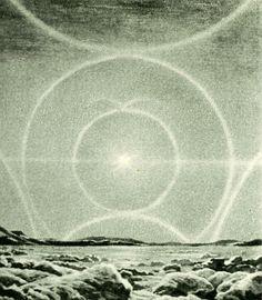 Complete Solar Halo, Larousse Encyclopedia of Astronomy, circa 1959, Lucien Rudaux