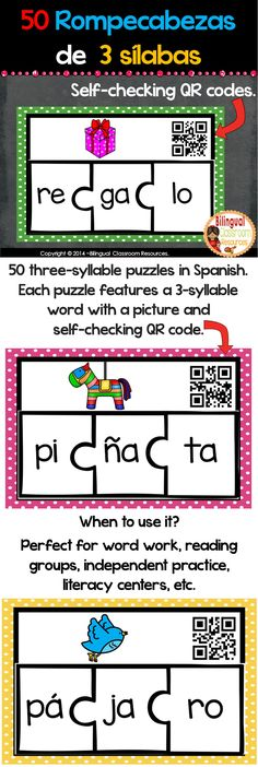 Help your students identify Spanish syllables and build words with this fun set. Each puzzle features a 3 syllable word with a picture and self-checking QR codes. Use the picture mat to start your puzzle. #rompecabezasdesilabas #rompecabezasdesilabasparaimprimir #centrosdesilabas #formarpalabrasde3 silabas #actividadespalabrasde3silabas #literacycentersinspanish #centrosparakinderenespanol #centrosdelecturakinder #centrosdelecturaprimergrado Bilingual Classroom, Bilingual Education, Classroom Language, Classroom Resources, Teacher Resources, Dual Language, French Language, Language Arts, Spanish Teacher