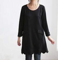 Simple Pleasures/ Black tunic Bottoming shirt dress by MaLieb, $70.00