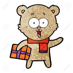 Laughing teddy bear with christmas present in cartoon illustration. Florist Logo, Christmas Presents, Laughing, Teddy Bear, Cartoon, Illustration, Fictional Characters, Xmas Gifts, Xmas Presents