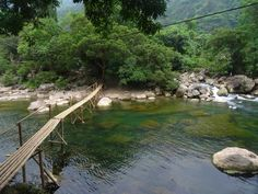 Bamboo bridge on the Nuoc Mooc Ecotrail