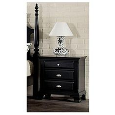 @Overstock - The Canterbury nightstand reflects classic style elements. The nightstand has brushed nickle hardware, shaped legs and a carefully selected ebony black finish.http://www.overstock.com/Home-Garden/Canterbury-Black-Finish-Nightstand/7029992/product.html?CID=214117 $131.99