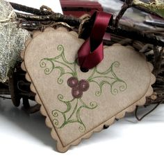 Rustic Christmas Gift Tags--I like the way the holly is drawn
