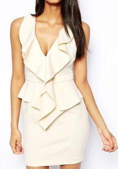 Apricot Plain Falbala Sleeveless Mini Dress