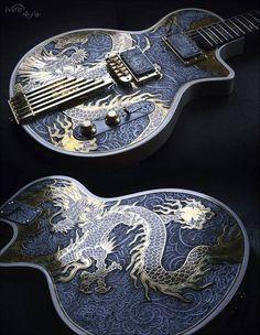Golden Dragon Les Paul, une lutherie magnifique par iVee Guitars. Retrouvez des cours de guitare d'un nouveau genre sur MyMusicTeacher.fr #electricguitar #Guitartypes