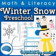 Winter Snow Preschool Math & Literacy Activities from Selma Dawani on TeachersNotebook.com -  (65 pages)  - A total of 16 math, literacy and fine motor activities for your preschool students. All activities are differentiated for different skill levels. Your students are sure to enjoy this unit this winter while they measure, sort and match. These are not just