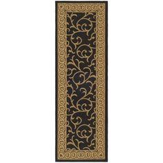 Safavieh Indoor/ Outdoor Courtyard Black/ Natural Rug (2'4 x 14')