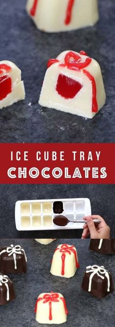 Dec 13 2019 - How to make homemade gourmet chocolates in an ice tray the easiest gift idea that everyone will love. Ice Cube Chocolate, Chocolate Diy, Chocolate Recipes, White Chocolate, Homemade Marshmallows, Homemade Candies, Homemade Gifts, Homemade Chocolates, Homemade Ice