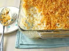 Wedding Potatoes - Ingredients: 2 lbs hash browns cup butter… 2 ounce) cans condensed cream of chicken soup 1 pint sour cream (or Greek Yogurt) teaspoon salt cup onion, chopped 1 tablespoon butter 2 cups longhorn cheese, grated, firmly packed 1 … Party Potatoes, Cheesy Potatoes, Texas Potatoes, Parmesan Potatoes, Roasted Potatoes, Cereal Recipes, Casserole Recipes, Potato Casserole, Spaghetti Casserole