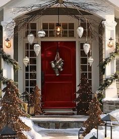 Christmas Front Door Decor but hang snowflakes instead