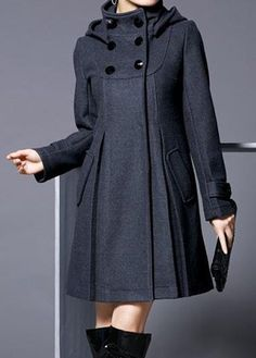 I think I want more buttons than just the top. Deep Grey Hooded Collar Long Sleeve Coat