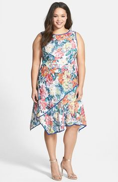Adrianna Papell Floral Print Asymmetrical  Fit & Flare Dress (Plus Size) available at #Nordstrom