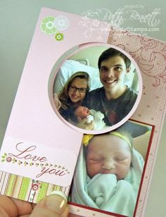 Baby card.. could be baby announcement too!  Thinlit Circle flip card dies make this easy!