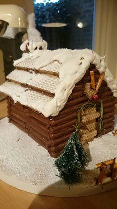 Alternative gingerbread house. Chocolate fingers.