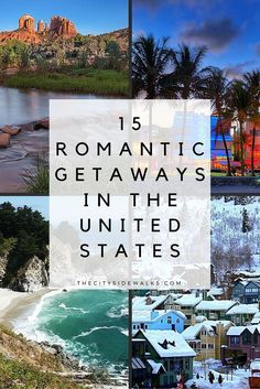 15 Romantic Getaways in the U.- 15 Romantic Getaways in the U. Ditch the flowers and chocolates this year and sweep your lover off their feet with a lovely weekend vacation. Travel to one of these 15 romantic getaways in the United States! Best Weekend Getaways, Weekend Vacations, Vacation Trips, Vacation Travel, Vacation Ideas, Weekend Trips, Dream Vacations, Midwest Vacations, Weekend Getaways For Couples