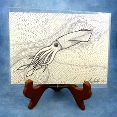 "Noadi's Art Blog: Myths & Legends Day. Today's giveaway is super simple to enter, no trivia today just tell me what your favorite fictional tentacles creature is. 5""x7"" original pen and ink squid drawing."