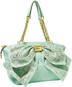 A flirty and feminine mint-blue satchel by Betsey Johnson. Fashion Handbags, Purses And Handbags, Fashion Bags, Latest Handbags, Kids Fashion, Betsy Johnson Purses, Betsey Johnson Handbags, Cute Purses, Cute Bags