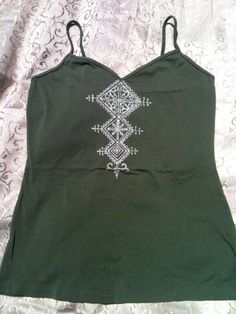 Women's camisole tank top, bleached henna style shirt, olive green, size large $21.86 AUD