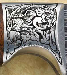 Engraving by Dwayne Dushane Engraving Tools, Metal Engraving, Grabar Metal, Knife Drawing, Engraved Knife, Boho Tattoos, Leather Tooling Patterns, Picture Engraving, Gold And Silver Rings