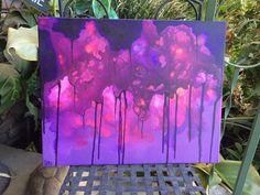 Orinign Purple Fluid Acrylic Abstract Painting by DoorInTheCeiling