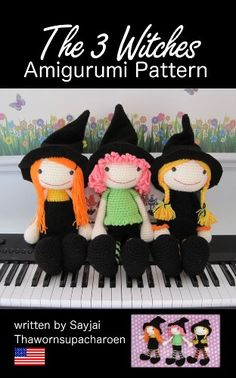 The 3 Witches Amigurumi Pattern (Big Huggy Dolls Book 10) Halloween Crochet
